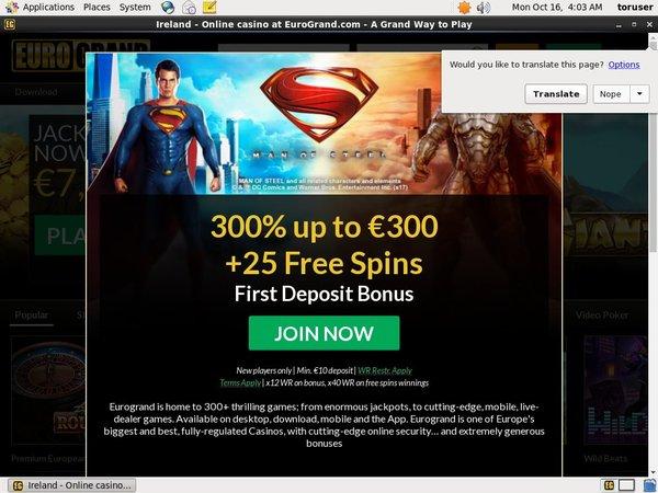 EuroGrand Online Casino Jackpot