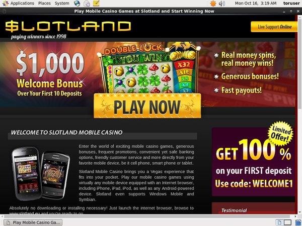 Slotland Promotion Code