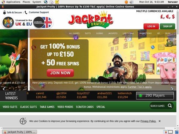 Jackpotfruity Rewards Code