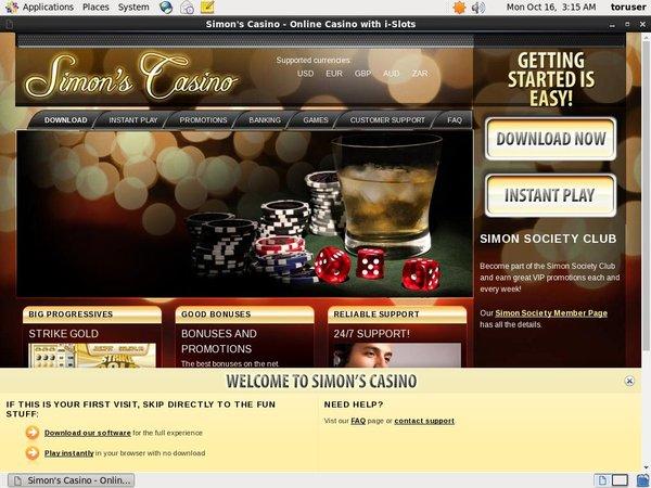 Simon Says Casino Prizes